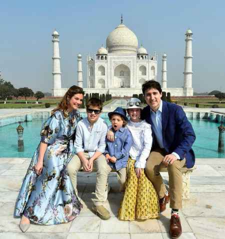 Justin Trudeau in India with his family