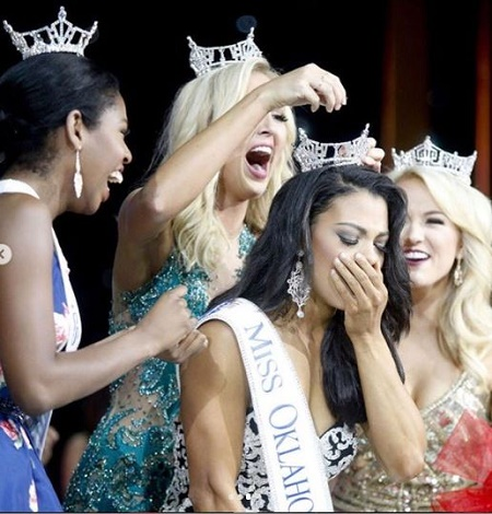 Triana Browne after being crowned Miss Oklahoma 2017