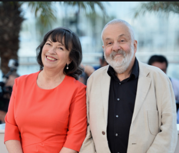 Mario Bailey And Her Husband Mike Leigh. They are apperaing together for the primer of The Crown.