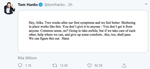 Actor Tom Hanks and his wife, Rital Wilson is feeling better after two weeks of their coronavirus diagnosis
