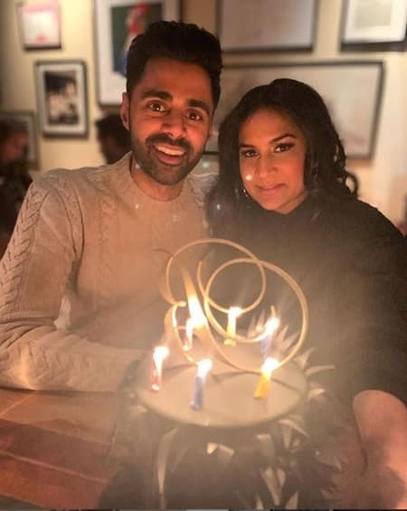 Hasan with his wife Beena celebrating