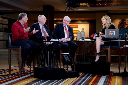 CNBC's Becky Quick takes interview with Warren Buffett , Charlie Munger and Bills Gates Monday, May 2, 2016, on CNBC