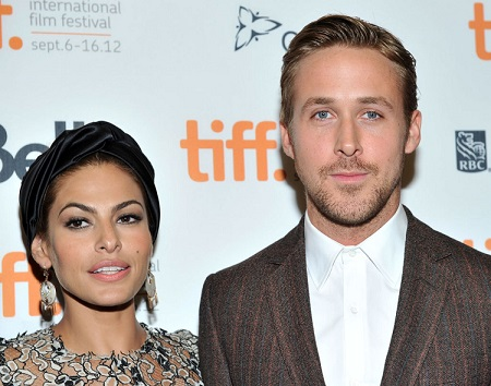 Eva Mendes and her partner Ryan Gosling at the International Film Festival