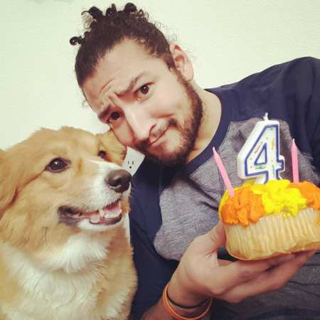 Uberhaxornova aka James Wilson with his pet dog, Ein. Know more about Wilson's dating life with his long time girlfriend, Hannah.