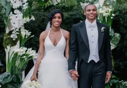 Nina Earl With Her Husband Russell Westbrook At Their Wedding Ceremony