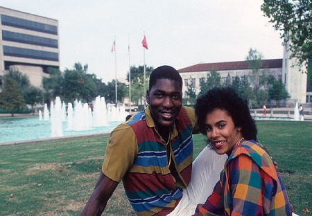 The fomer soccer goalkeeper  posing with his ex- girlfriend Lita Spence during a college