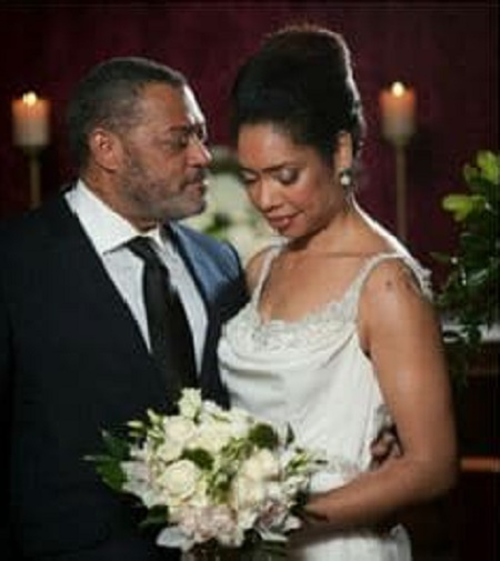 Laurence Fishburne and his ex-wife Gina Torres at their Marriage Day on September 22, 2002