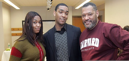 Actor Laurence Fishburne with his son Langston Fishburne and daughter Montana Fishburne