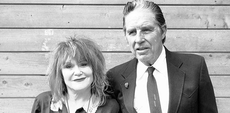 Exene and her former husband John Doe posing together