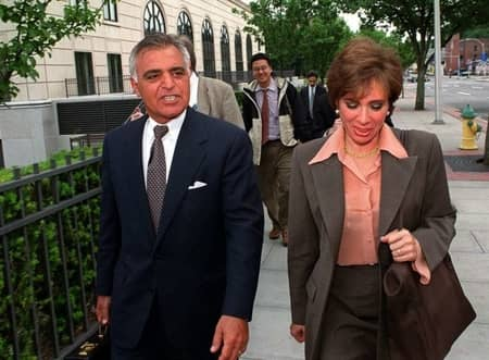 Albert Pirro and Jeanine Pirro walking to the press conference after the accusation of Tax frauds