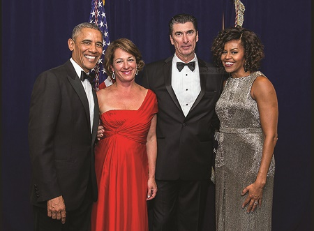 Carol D. Leonnig and her husband, John Reeder, Barack Obama and his wife,  Michelle Obama at the White House Correspondents' Dinner