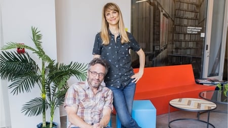 Lynn Shelton with her partner Marc Maron at an interview