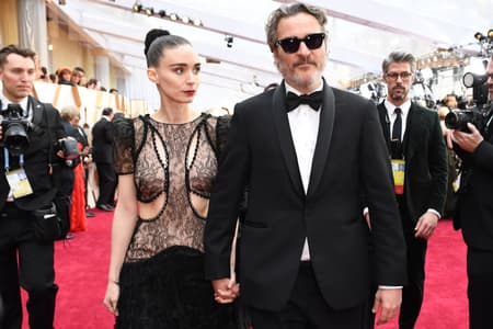 Rooney Mara with Joaquin Phoenix at the 2020 Oscars