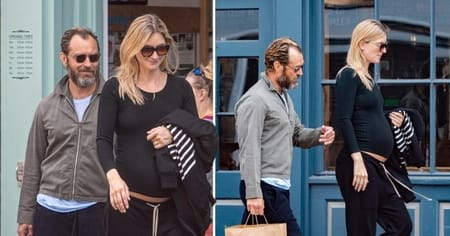 Jude Law and Phillipa Coan spotted in London displaying baby bump