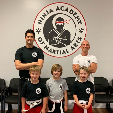 The Vines Star, Blake Wilson with his sons at Ninja Academy of Martial Arts