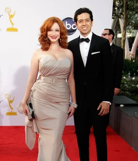 Geoffrey Arend and Christina Hendricks looking very happy at the red carpet event