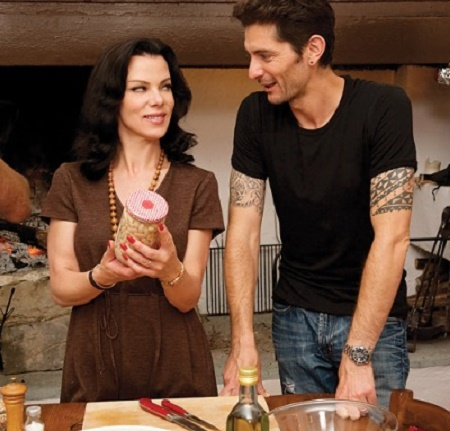Gabriele Corcos and Debi Mazar on Cooking Channel show Extra Virgin