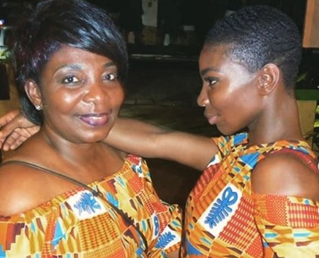 The Chewing Gum creator, actress, Michaela Coel (right) with her mother.