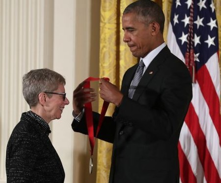 Terry Gross and ex-president Barack Obama.