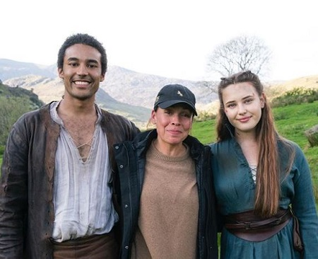 The actor Devon Terrell with the Cursed (TV series) director Zetna Fuentes (middle) and co-star Katherine Langford (right).