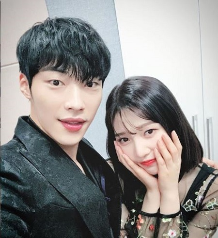 Woo Do-Hwan with the singer, actress, Park Soo-Young, aka Joy.