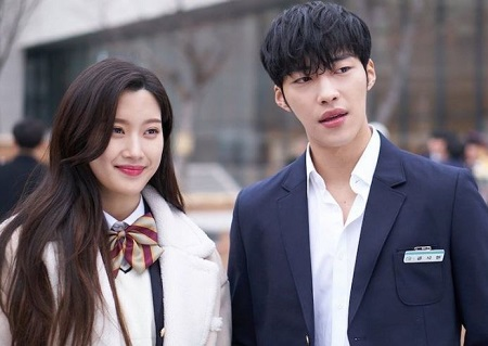 The actor Woo Do-Hwan with his Tempted co-star Moon Ga-Young.
