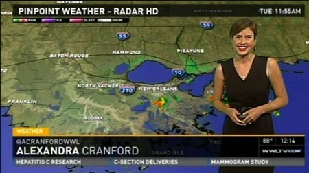 The weather forecaster Alexandra Cranford has an estimated net worth of $400 thousand.