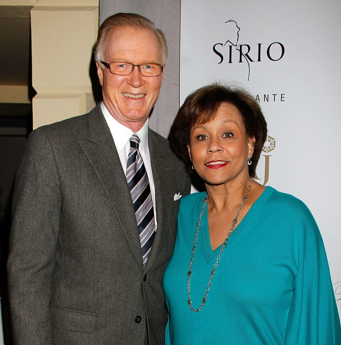 Sue Simmons with her co-anchor, Chuck Scarborough.