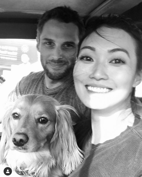 Catherine Haena Kim with her expected boyfriend and pet dog.