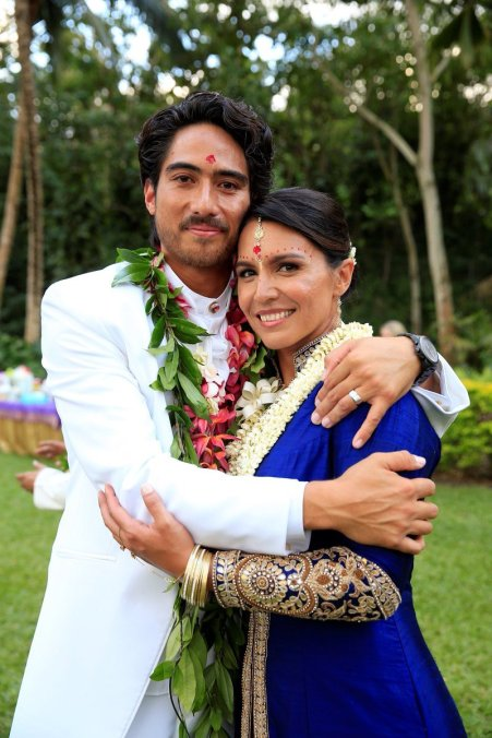 Tulsi Gabbard with her second husband, Abraham Williams, on their wedding in 2015.