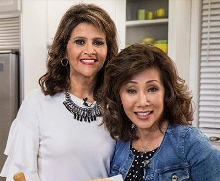Sylvia Perez (left) with her friend and co-anchor Linda Yu.