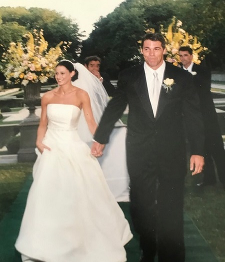 Chris Fowler and His Wife, Jennifer Dempster During Their Wedding Ceremony