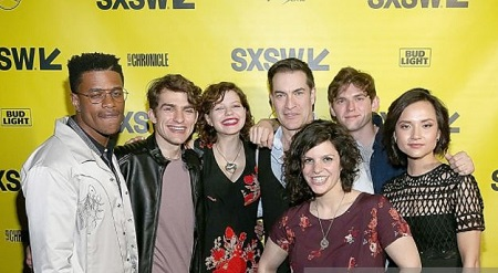 The Ranger actress Chloe Levine (third from left) with the co-stars (from left to right) Jeremy Pope, Grant Lahu, Jeremy Holm, Jenn Wexler, Bubba Weiler, and Amanda Grace Benitez.'
