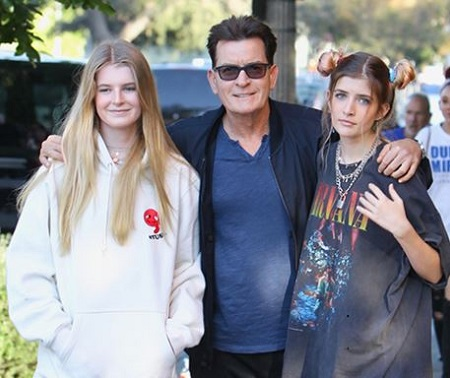 Denise Richards former husband Charlie Sheen (actor) and daughters Sam (right) and Lola Rose Sheen (left).