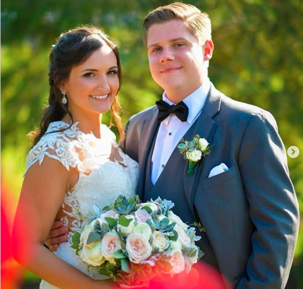 Lauren Weber with her husband, Bobby, on their wedding day on August 20, 2016