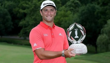 Jon Rahm after winning the Memorial Tournament in July 2020.