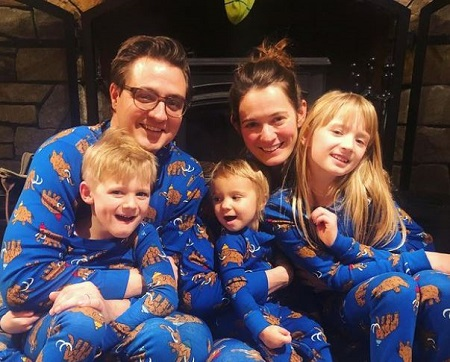 Kate and Chris Hayes with their three kids, Ryan Elizabeth (right), David Emanuel (left), and Anya Hayes (middle).