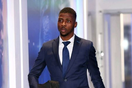 Kelechi Iheanacho in a suit caught on the camera.