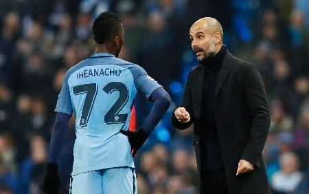 Kelechi Iheanacho and Pep Guardiola caught on camera.